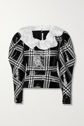 Rodarte Silk Organza Trimmed Checked Sequined Stretch Knit Blouse Black