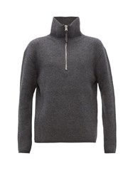 Acne Studios Kally Half Zip Roll Neck Wool Blend Sweater Grey