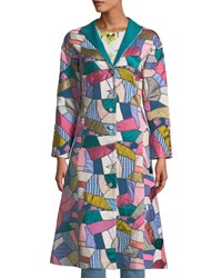 Talitha Button Front Fitted Multi Patchwork Long Coat Pink Pattern