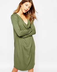 Ganni Oversize Long Sleeve Dress With Cowl Neck Army