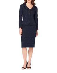 Tahari By Arthur S. Levine Two Piece Portrait Neck Four Button Jacket Skirt Suit Navy
