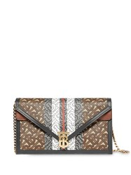 Burberry Small Monogram Stripe E Canvas Tb Envelope Clutch Brown