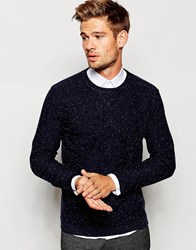 Selected Homme Knitted Crew Neck Jumper With Fleck Blue