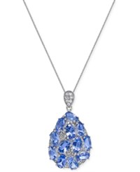 Macy's Tanzanite 3 Ct. T.W. And Diamond 1 8 Ct. T.W. Pendant Necklace In 14K White Gold Blue