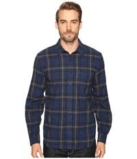 Joe's Jeans Relaxed Single Pocket Flanel Shirt Blue Grey Plaid Men's Long Sleeve Button Up Black