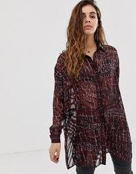 Religion Oversized Sheer Blouse In Croc Print Red