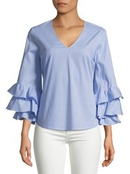 Ivanka Trump Tiered Bell Sleeve Blouse Blue White