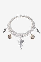 Topshop Elephant Multi Charm Drop Necklace Mixed Metal