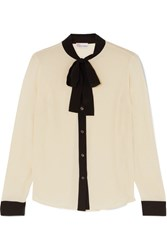 Red Valentino Redvalentino Pussy Bow Silk Crepe Blouse Ivory