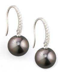 Gray South Sea Pearl And Diamond Drop Earrings 0.16Ct Eli Jewels Blue