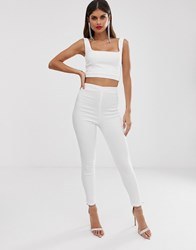 Vesper Tailored Trousers Co Ord In White