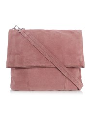 Pieces Light Pink Suede Flapover Crossbody Bag Light Pink