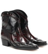 Ganni Exclusive To Mytheresa Low Texas Leather Ankle Boots Black