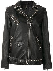 Htc Hollywood Trading Company Companytudded Biker Jacket Cotton Leather Polyester S Black
