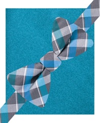 Alfani Spectrum Lennox Plaid Bow Tie And Pocket Square Set Only At Macy's Light Blue