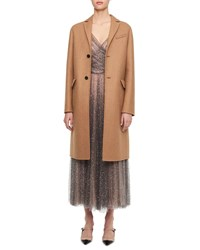 Christian Dior Single Breasted Wool Camel Coat