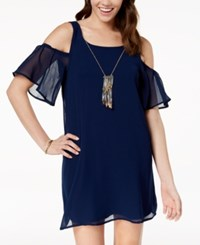 As U Wish Juniors' Cold Shoulder Shift Dress With Necklace Navy