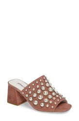 Jeffrey Campbell Women's Perpetua Dome Stud Open Toe Mule Pink Suede Combo