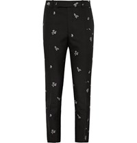 Alexander Mcqueen Slim Fit Jacquard Trousers Black
