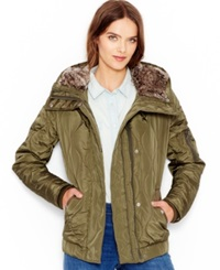 Levi's Faux Fur Hooded Quilted Jacket