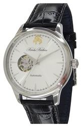 Brooks Brothers 'Core Open Heart' Leather Strap Watch 43Mm Black Silver