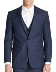 Tallia Orange Slim Fit Two Button Wool Suit Jacket Blue