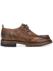 Silvano Sassetti Distressed Lace Up Shoes Brown