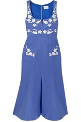 Alice Mccall Pastime Paradise Embroidered Cotton Midi Dress Blue