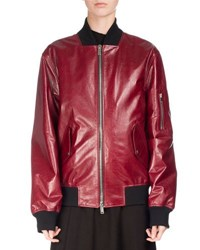 Proenza Schouler Shiny Leather Bomber Jacket Red