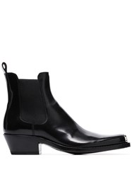 Calvin Klein 205W39nyc Chris Metal Toe Cap Leather Western Boots Black