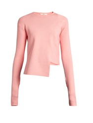 Tibi Asymmetric Round Neck Ribbed Knit Sweater Pink