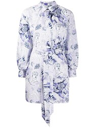 Baum Und Pferdgarten Floral Print Shirt Dress Purple