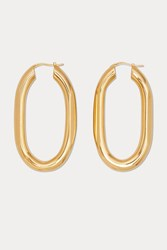 Celine Triomphe Large Chain Hoop Earrings In Brass With Vintage Gold Finish