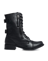 Truffle Collection Truffle Flat Lace Up Military Boots