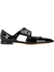 Emporio Armani Strappy Pointed Toe Ballerinas Black