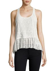 Design Lab Lord And Taylor Floral Lace Peplum Top White