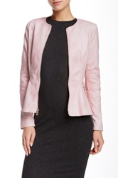 Guess Perforated Faux Leather Flared Moto Jacket Pink