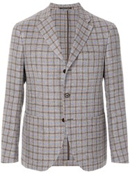 Cantarelli Fitted Checked Jacket Grey