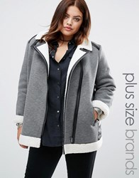 Alice And You Faux Shearling Jacket With Pu Trim Detail Grey