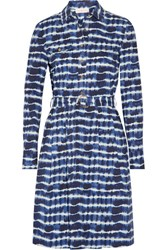 Tory Burch Derrick Tie Dyed Stretch Cotton Poplin Shirt Dress Navy