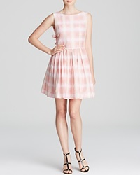 Marc By Marc Jacobs Dress Blurred Gingham Voile Tie Back Piggy Pink Multi