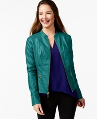 Alfani Faux Leather Bomber Jacket Only At Macy's Urban Teal