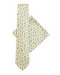 Stefano Ricci Silk Tie And Pocket Square Set Yellow