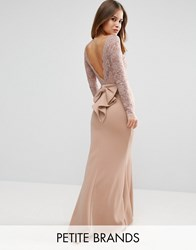 City Godess Petite Goddess Fishtail Maxi Dress With Lace Sleeves And Bow Back Nude Pink