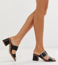 River Island Heeled Mules With Buckle In Black