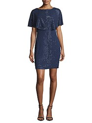 Aidan Mattox Beaded Ruffled Layer Dress Dark Blue
