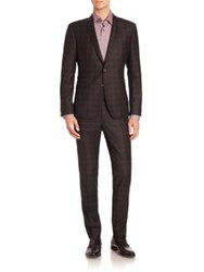 Strellson Slim Fit Virgin Wool Plaid Suit Black