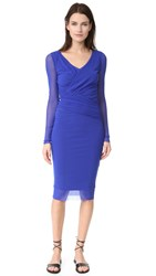 Fuzzi Long Sleeve V Neck Dress Bluette