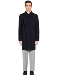 Emporio Armani Boiled Wool Coat W Knit Collar