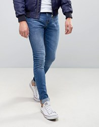 Pull And Bear Super Skinny Jeans In Mid Wash Blue Blue